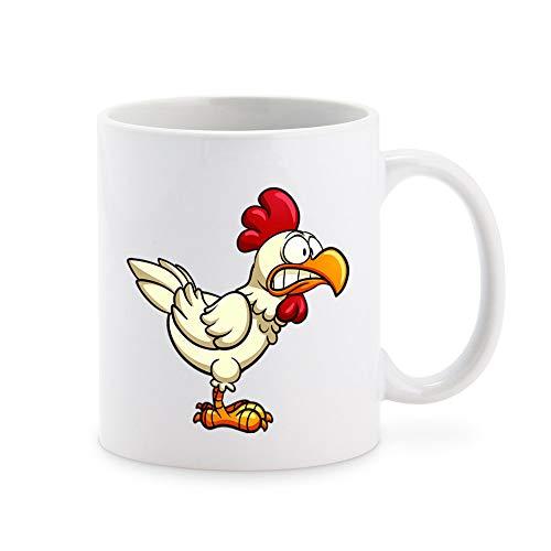 Crazy Silly Running Scared Chicken Cartoon Coffee Mug Tea Cup Novelty Gift Mugs 11 oz