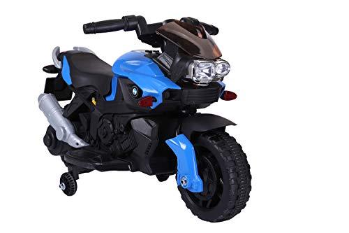 PLAY4FUN Moto Electrique 20W Bleu pour Enfant - 90L x 42l x 58H cm - roulettes de Soutien, Marche AV / AR, Phares Fonctionnels, Bruitages Moteur Authentique
