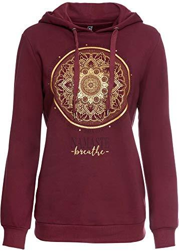 bonprix Sweatshirt mit Glitzerdruck ahornrot/Gold Bedruckt 52/54 für Damen