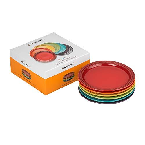 Le Creuset Teller-Set, 6-teilig, Rund, Je Ø 18 cm, Steinzeug, Regenbogen