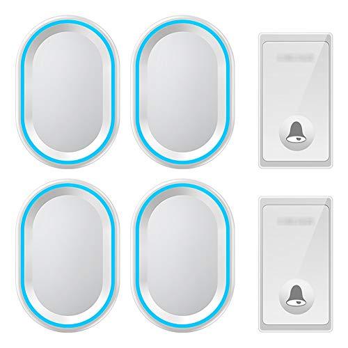 Zelfaangedreven draadloze deurbel, waterdichte draadloze deurbel op afstand, 2-knops zender en 4 plug-in ontvangers met 58 geluidssignalen, volume op 4 niveaus en LED-verlichting,White