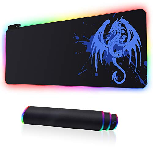 RGB Gaming Mouse Pad, Large Extended Soft Led Mouse Mat with 14 Lighting Modes 2 Brightness Levels, Non-Slip Rubber Base, Waterproof Surface, Anime Dragon Mousepad (31.5 x 11.8 x 0.2 Inch) (Blue)