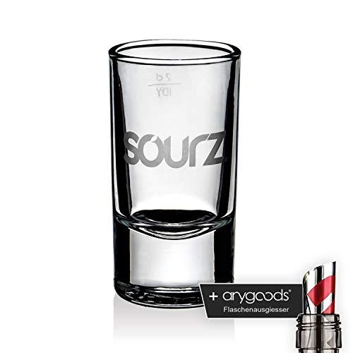 Sourz Glas Gläser Shotglas Schnapsglas Likör Gastro Bar Deko NEU + anygoods Flaschenausgiesser