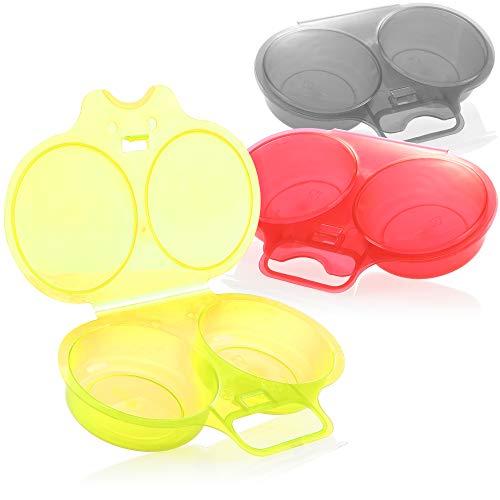 com-four® 3x Eier Pochierer - Eierkocher Mikrowelle für verlorene Eier - Doppelbecher zum Pochieren von Eiern - Mikrowellen Eipochierer für 2 Eier (rot/gelb/grau)