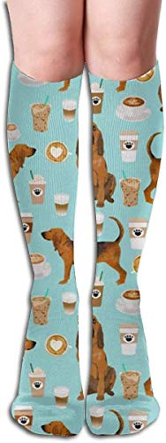 Bloodhound Fabric Bloodhound Fabric Dogs and Coffees Men and Women Compression Knee Socks High Fitness Novelty Stockings 50Cm Stylish Design
