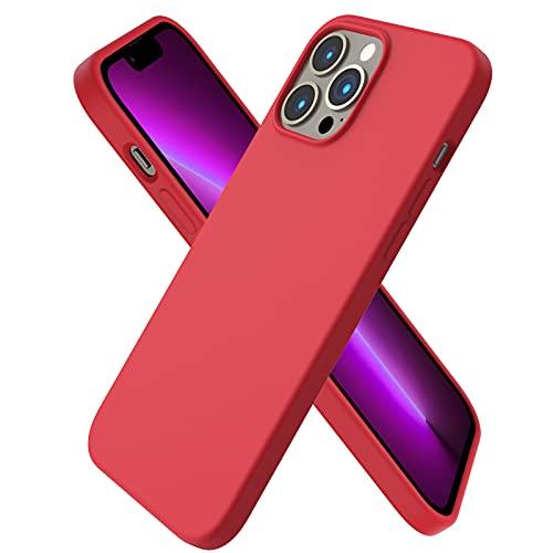ORNARTO Funda Silicone Case Compatible con iPhone 13 Pro MAX, Protección de Cuerpo Completo,Carcasa de Silicona Líquida Suave Antichoque Case para iPhone 13 Pro MAX (2021) 6,1-roja