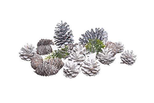 Heitmann Deco Tannenzapfen - Deko-Set - Tannenbaum - Zweige - Holz - Schnee - Weihnachten - braun, weiß, grün - ca. 5-10 cm