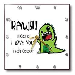 3dRose dpp_157446_2 Rawr Means I Love You in Dinosaur. Cute Dinosaur-Wall Clock, 13 by 13-Inch
