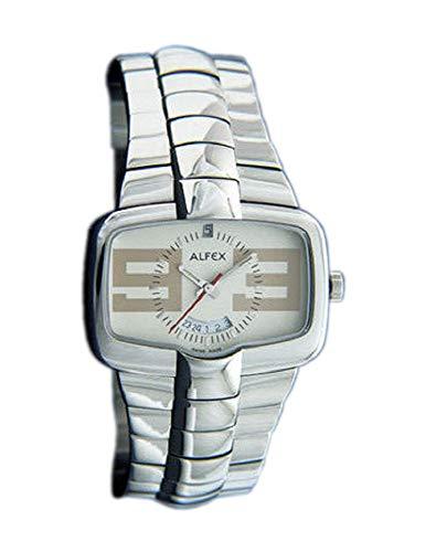 ALFEX 5522 - Reloj de pulsera analógico unisex de cuarzo con correa de acero inoxidable