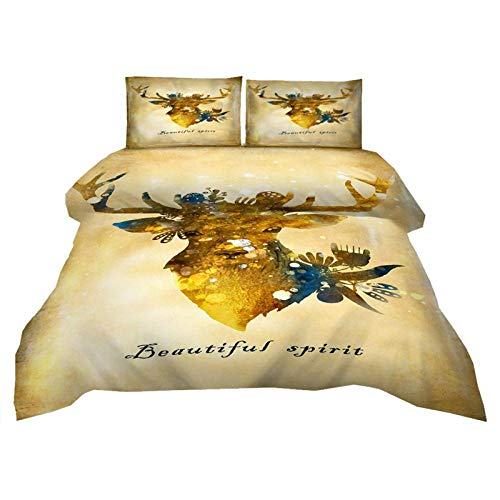 ACVMF Duvet Cover Set 3 Piece Golden Elk Print Duvet Set Bedding Set 90.55 x 86.61 inch 100% Polyester with 1 x Duvet Cover + 2 Pillowcases for Single Double King Super Super big