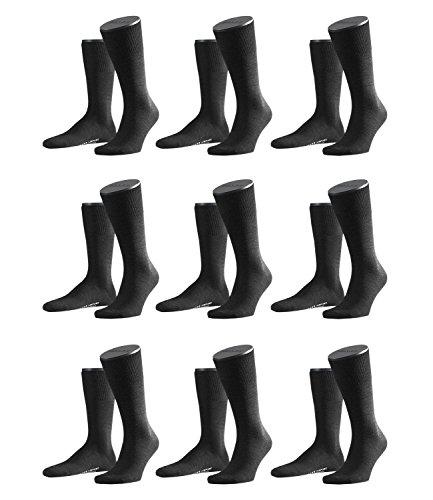 FALKE Herren Airport Socken Strümpfe 14435 9 Paar, Farbe:Anthrazit;Sockengröße:45-46;Artikel:14435-3080 anthrazit mel.