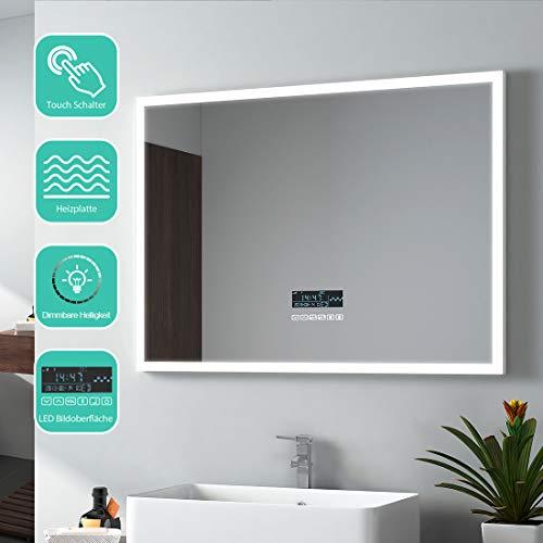 EMKE badkamerspiegel met verlichting 80x60cm badkamerspiegel met Bluetooth, klok, temperatuur, datum, condensvrij, dimbare helderheid