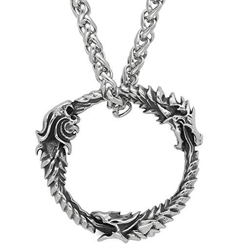 LRKZ Pulsera de acero inoxidable Viking con cadena de quilla de amuleto vintage pulido celta nórdico para hombre de Navia