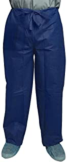 Dukal Polypropylene Pants. Pack of 10 Disposable Wear Medium. Dark Blue Pants with Drawstring Tie Waist, Front and Back Po...