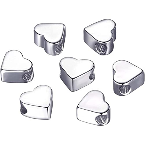 YMXCNM 50 Piezas de Cuentas espaciadoras de Agujero pequeño Europeo de corazón se Adapta a Collares de dijes Hechos a Mano/Accesorios de Pulseras (Plata)