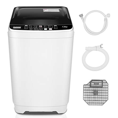 Nictemaw Full Automatic Portable Washing Machine,2-in-1 Combination Washer with 10 Programs and 8 water levels, 1.71cu.ft/15.5 lbs Capacity, LED Display and Drain Pump, Ideal Laundry Washer for RVs, Dorm, Apartment (1.71cu.ft)