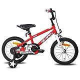 HILAND Pluto - Bicicleta infantil de 14 pulgadas para niñas y niños de más de 3 años con ruedas de apoyo, freno de mano y freno de contrapedal, color negro