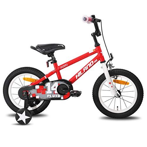 HILAND Pluto 14 - Bicicleta infantil para niños de 3 a 7 años, con ruedas de apoyo, freno de mano y freno de contrapedal, color azul