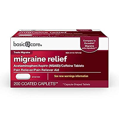 ACTIVE INGREDIENTS in Amazon Basic Care Migraine Formula Caplets are acetaminophen 250 mg, aspirin 250 mg (NSAID), and caffeine 65 mg Compare to the active ingredients in Excedrin Migraine MIGRAINE PAIN: The pain of migraine headaches can disrupt you...