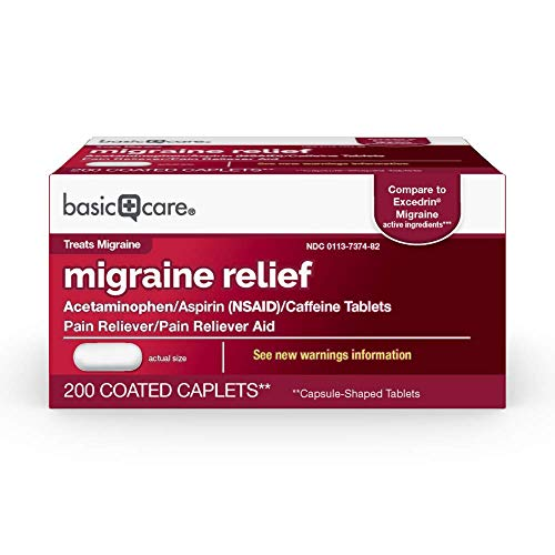 Amazon Basic Care Migraine Formula Caplets, Acetaminophen, Aspirin (NSAID) and Caffeine Tablets, Migraine Pain Relief, 200 Count