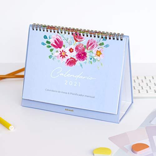 Calendario de mesa Flores & Planificador mensual 2021-24 x 19 cm- Wire-o en bronce- Takenote Agendas