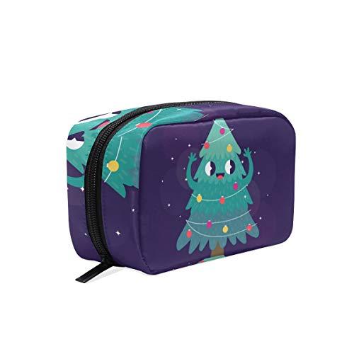 Kosmetiktasche mit süßem Cartoon-Weihnachtsbaum, Smiley-Stern, Kosmetiktasche, Reise-Make-up-Tasche
