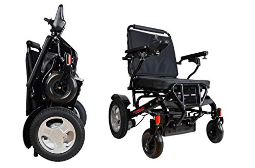 "Porto Mobility Ranger D09S, 1 Best Rated Weatherproof Exclusive Lightweight Folding Electric Wheelchair, Dual ""500W"" Motors, All Terrain, Dual Battery Portable Electric Wheelchair (Black, Standard)"