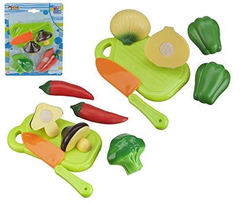 Happy People Gemüse mit Schneidebrett und Messer, Verschiedene Gemüsesorten zum Schneiden (mit Klettverschluss) 2-Fach Sortiert, Kunststoff