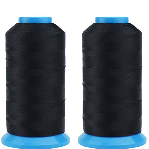 SUNYOON 2個入り 黒色 100%ポリエステル �K ター下糸 家庭用ミシン糸刺繍糸縫糸 手縫い糸 基本色ミシン糸 縫製糸 T70 69# 210D/3
