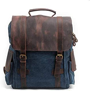 WENQU Retro Canvas Notebook Turgid Capacity Computer Bag School Backpack Multifunction Laptop Backpack (Color : Blue)