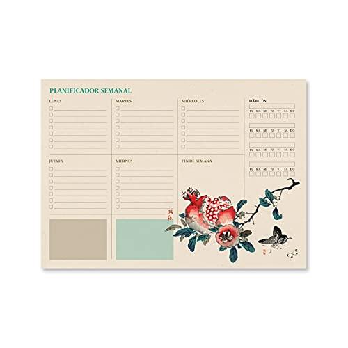 Bloc planificador semanal A4 Japanese - Organizador semanal - Planificador semanal - Planning escritorio │Planificador Japanese -Organizador semanal