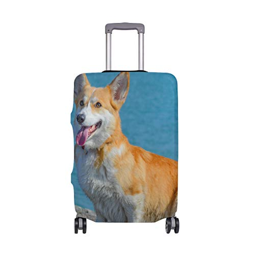 Travel Luggage Cover Protector Corgi Dog Pet Animal Cute Doggy Suitcase Baggage Cover Spandex for Adult Women Men Teen Fits 22-24 Inch