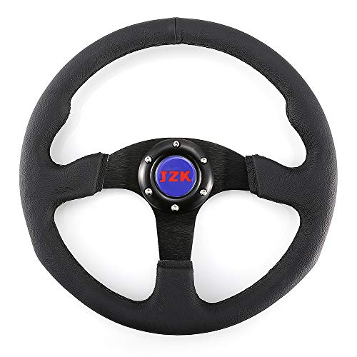 JZK New Classic Universal Steering Wheel 350mm 6 Bolts Genuine Leather Material Grip and Brushed Stainless Spoke