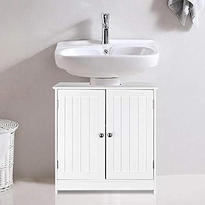 SSLine Under Sink Vanity Cabinet Free Standing Bathroom Sink Cabinet with Pedestal Hole White Bath Storage Cupboard w/Doors & Shelves Space Saver Organizer