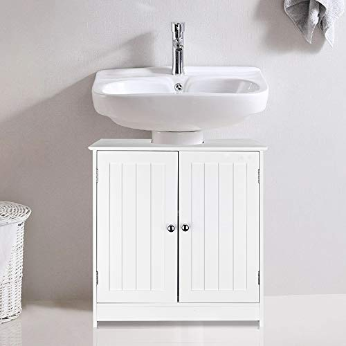 SSLine Under Sink Vanity Cabinet Free Standing Bathroom Sink Cabinet with Pedestal Hole White Bath Storage Cupboard w/Doors & Shelves Space Saver Organizer
