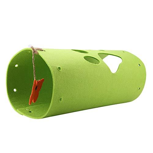 BOLORAMO Tenda da Gioco per Gatti, Letto Portatile a Tunnel per Gatti Pieghevole Facile da Pulire con Un Giocattolo a Farfalla per Tutte Le Stagioni per Interni(Verde)