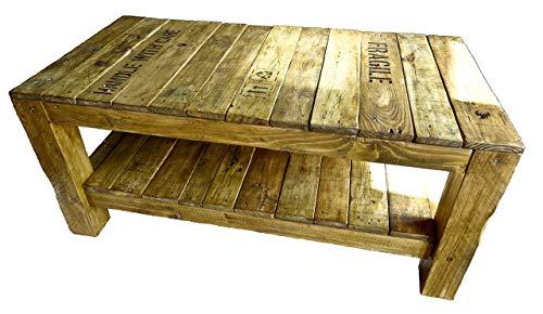 Paletten - Couchtisch (3 Größen zur Auswahl & Wunschtext) LxBxH : 1oox5ox45 cm oder größer aus Echtholz/Massivholz im used look