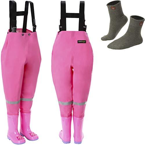 smartpeas wasserdichte Wathose für Kinder mit Gummi-Stiefel pink Größe 26/27 – ideale Anglerhose/Watthose für Kinder +Plus: 1x Socken