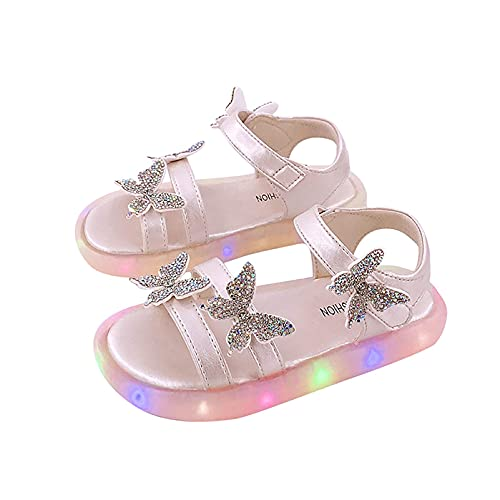Sandalias para niños y niñas, con iluminación luminosa LED, para fiestas, bailes, cosplay, princesas (tamaño: 26, color: blanco)