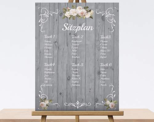 Sitzplan Tischliste Tischordnung Gästeliste 70x50 cm Leinwand auf Keilrahmen Hochzeits Dekoration Schild