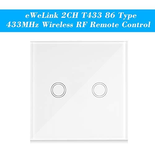 eWeLink Interruptor Tactil Pared, T433 86 Tipo 433MHz 2CH, Transmisor de Control Remoto Inalámbrico, Soporta Todos los Productos SONOFF RF 433MHz, Lámpara de Escalera de Control