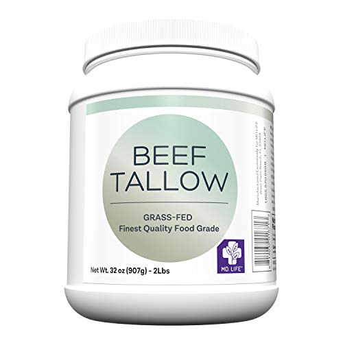 MD. Life Beef Tallow for Cooking - Food Grade Grass Fed Beef Tallow for Cooking Oil Replacement - 1 Gallon (4 Pack) - Pasture Raised Keto Friendly Beef Tallow- Used to Make Candles & Soaps