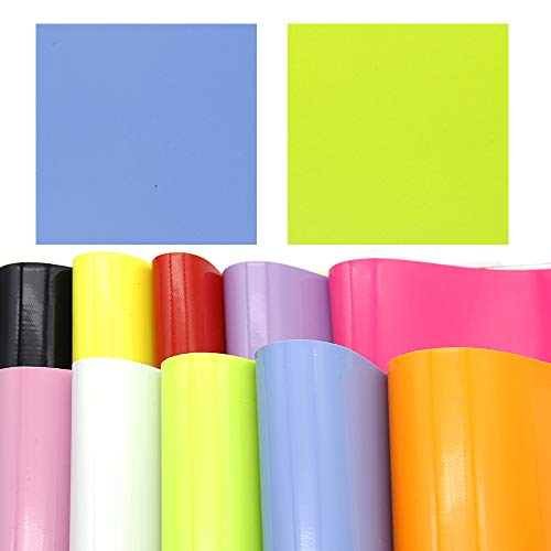 David accessories Rainbow Color Smooth PVC Faux Leather Fabric Sheet Synthetic Leather 10 Pcs 8 x 13 (20cm x 34cm) Assorted Colors for DIY Craft Projects(10Pcs Smooth Leather)