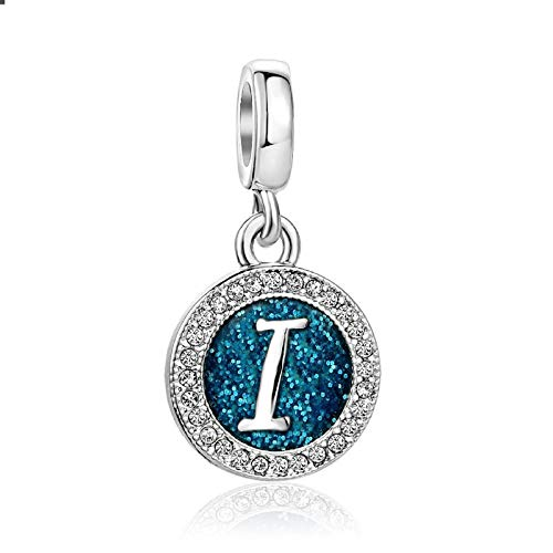 SBI Jewelry Blue Initial Letter Charm for Bracelets Silver I Charm April Birthstone Gift for Girlfriend Grandma Mother's Day