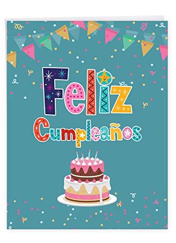 Feliz Cumpleanos Spanish Birthday - Big Spanish Birthday Card with Envelope (Extra Large 8.5 x 11 Inch) - Colorful Greeting Notecard with Cake Design Banner, Confetti - Bday Stationery J6587BDG-SL