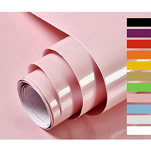 Hode Klebefolie Möbel Rosa Selbstklebende Folie Dekorfolie für Küche Möbelfolie Wasserdicht Vinyl Hochglanz Mit Glitzer Pink 40cmX300cm