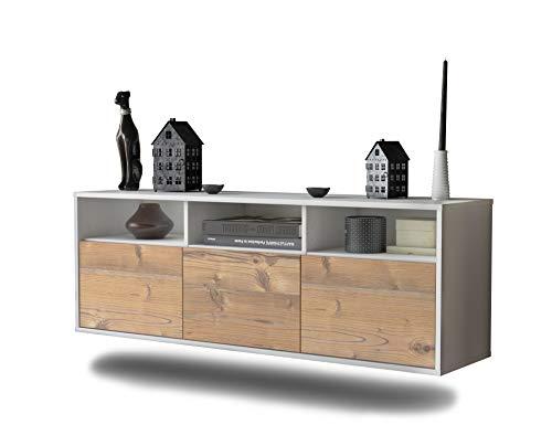 Lowboard Kansas City hängend (136x47x35cm) Korpus weiß matt | Front Holz-Design Pinie | Push-to-Open