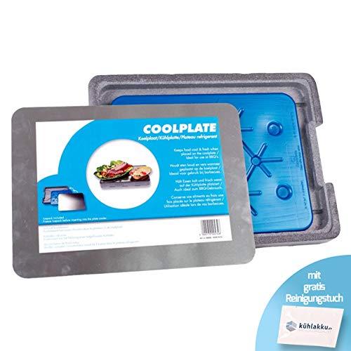 Kühlplatte Coolplate inklusive Kühlakku Freezeboard 800, 12h Kühlleistung! Hält Speisen und Getränke kühl und frisch - perfekt beim Grillen als Getränkekühler! Mit gratis Kühlakku Reinigungstuch