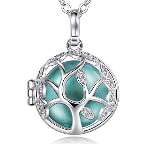 EUDORA Harmony Ball Baum des Lebens Kette, Engel Anrufer Anhänger Halskette, Bola Klangkugel Kette Schmuck Mädchen Mama Mutter Schwester, 76,2cm