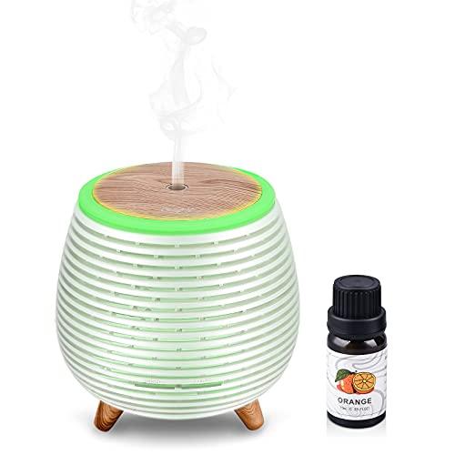 Ckeyin Humidificador Ultrasònico Mini Difusor 90ML Ambientador Aromaterapia con 1 Botellas de Aceite Esencial 100% Puro,Silencio,7 Luces LED de Color, sin BPA para el Hogar y la Oficina,(Blanco-2)